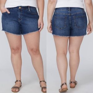 Lane Bryant Frayed & Embroidered Girlfriend Short
